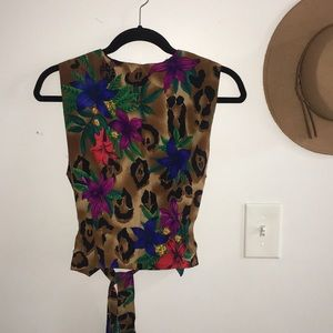 Vintage Tie Cheetah/Tropical Button Up Tank